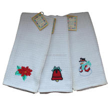 Manufacturing Sell Direct Kitchen Cotton White Waffle Tea Towels For Christmas Embroidery