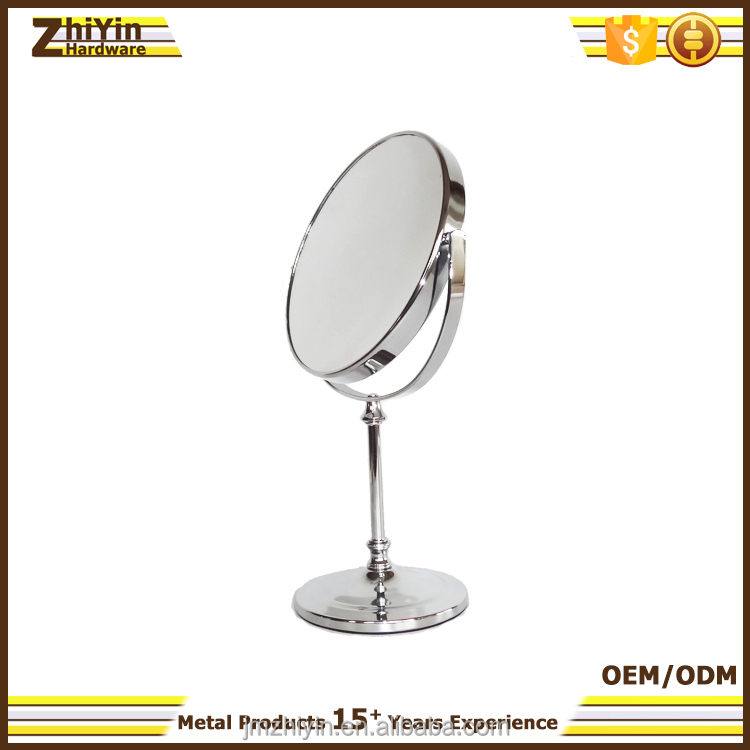 2017 new compact vanity bathroom decorative metal frame two side magnifying makeup mirror