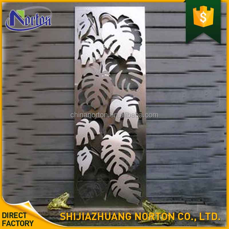 Leaves shape Relief polished stainless steel wall sculpture NT--SS214A
