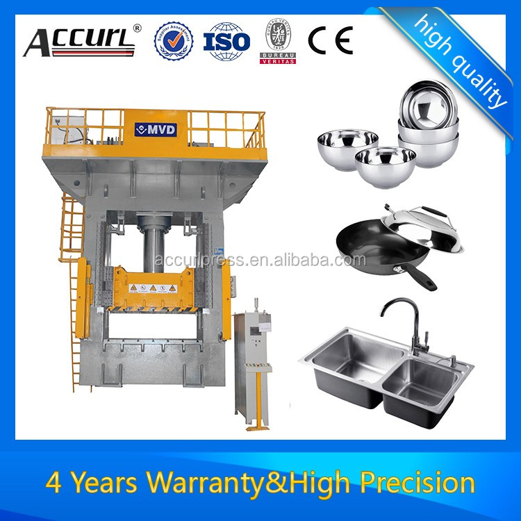 Deep drawing hydraulic press forHigh-Capacity Hydraulic Press with Precise Ram plate feed via 4-column Guide