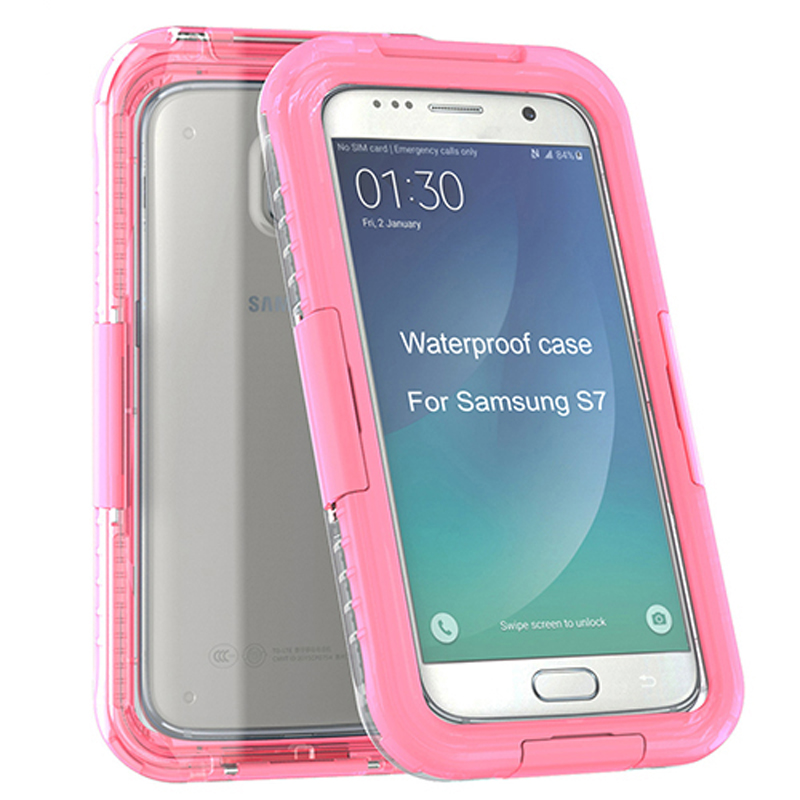 Shock Proof Clear PC Silicone waterproof case for samsung galaxy j7