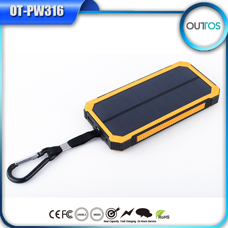 Super big capacity 12000mah camping light solar power bank with dual usb outputs