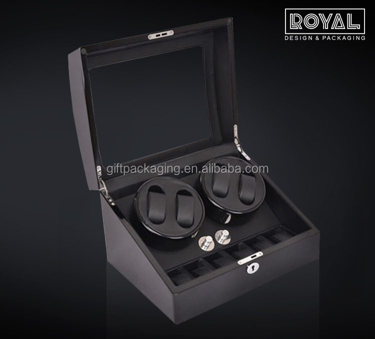 Hot Sale Automatic Wood Watch Winder in Black with 10 Capacity for Watch Display