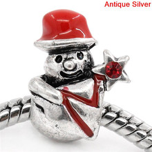 European Charm Beads Antique Silver Snowman Red Rhinestone Enamel Red 15.5x11.5mm,Hole:Approx:4.5mm,10PCs
