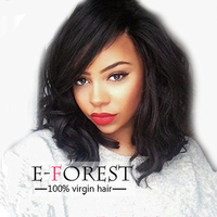 Human Hair Natural Wave Bob Wig Lace Frontal & Full Lace 4x4 Silk Top Wig For American Africans