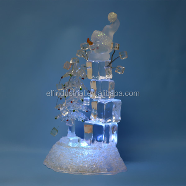christmas items imported hand-work christmas decoration led lighted snowman