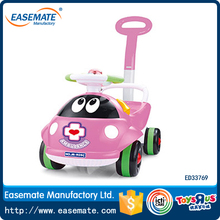 Pink lady beetle's kids plastic walker car ride on toy car with music and light