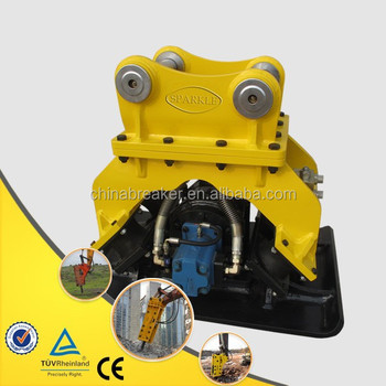 Construction excavator attachment hydraulic plate compactor
