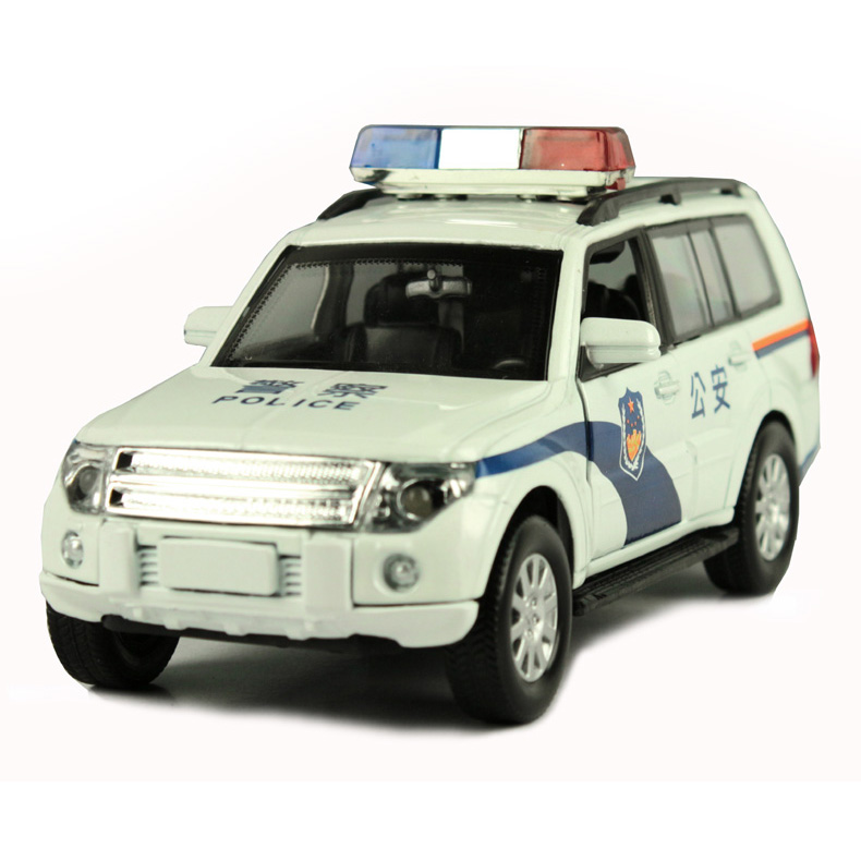 For MITSUBISHI police car suv off-road vehicles three door acoustooptical alloy WARRIOR child car toy
