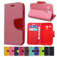 Fancy Dual Colour Flip Case Cover For Huawei glory 3 with TPU inside holder stander function
