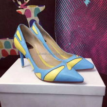 Create your own brand name shoes hot dropship shoes wholesale yellow&blue classic pointed toe pumps