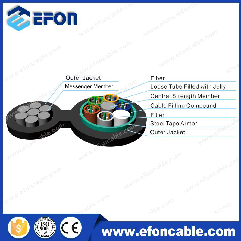 Outdoor Aerial 24.48/96Cores Fiber Optic Cable For Network