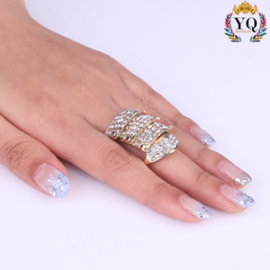 RLX-00326 fashion punk rhinestone ring pave adjustable finger ring flexible ring jewelry gold plated