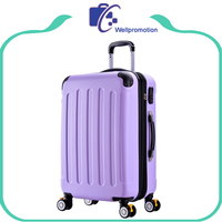 Purple ABS plastic trolley luggage hard travel case.