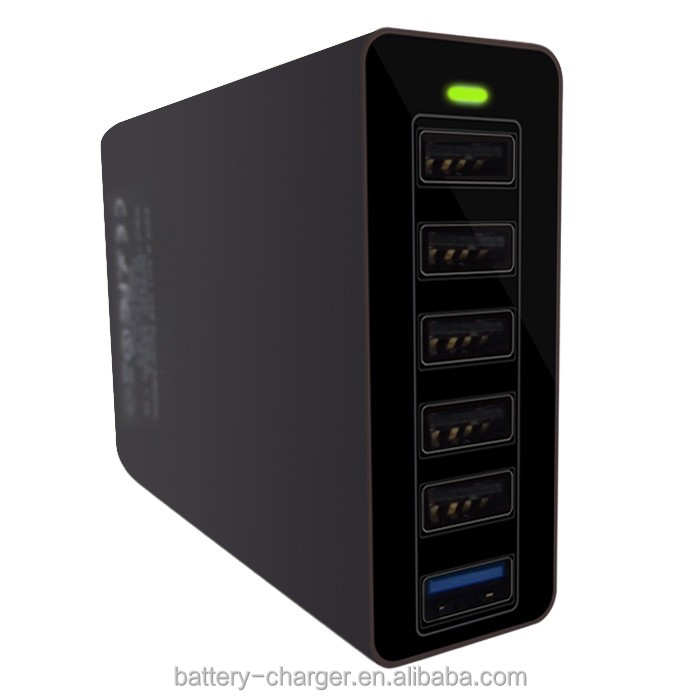 Powerful Smart 60W 6 Port 12A Multi USB Charger with USB Cable Family Size Desktop USB Charging Station for iPhone