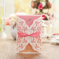 2015 New Arrival Pink and White Embossed Wedding Cards for Invitation ,Customized Printable ,Free printing cw5112