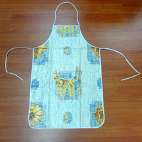 Waterproof disposable sleveless non woven backing PVC sleveless cheap printed apron
