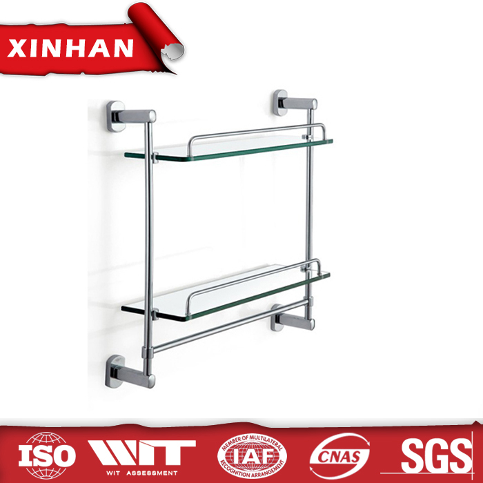 lavatory zinc alloy double tier clear shelves and racks with towel bar