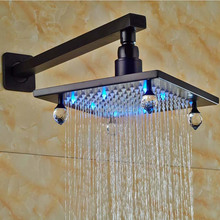 Wholesale And Retail LED Light Oil Rubbed Bronze Black Top Rainfall Shower Head Wall Mounted with Square Bar