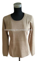 Casual brown 100% cashmere sweater design for women