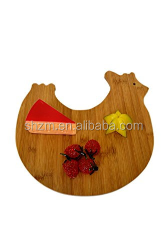 wholesale animal cock shaped bamboo cheese cutting board durable for custom bamboo cutting boards