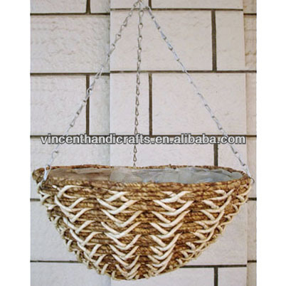 Oval cheap chain hanging wicker gift flower basket for wedding decoration