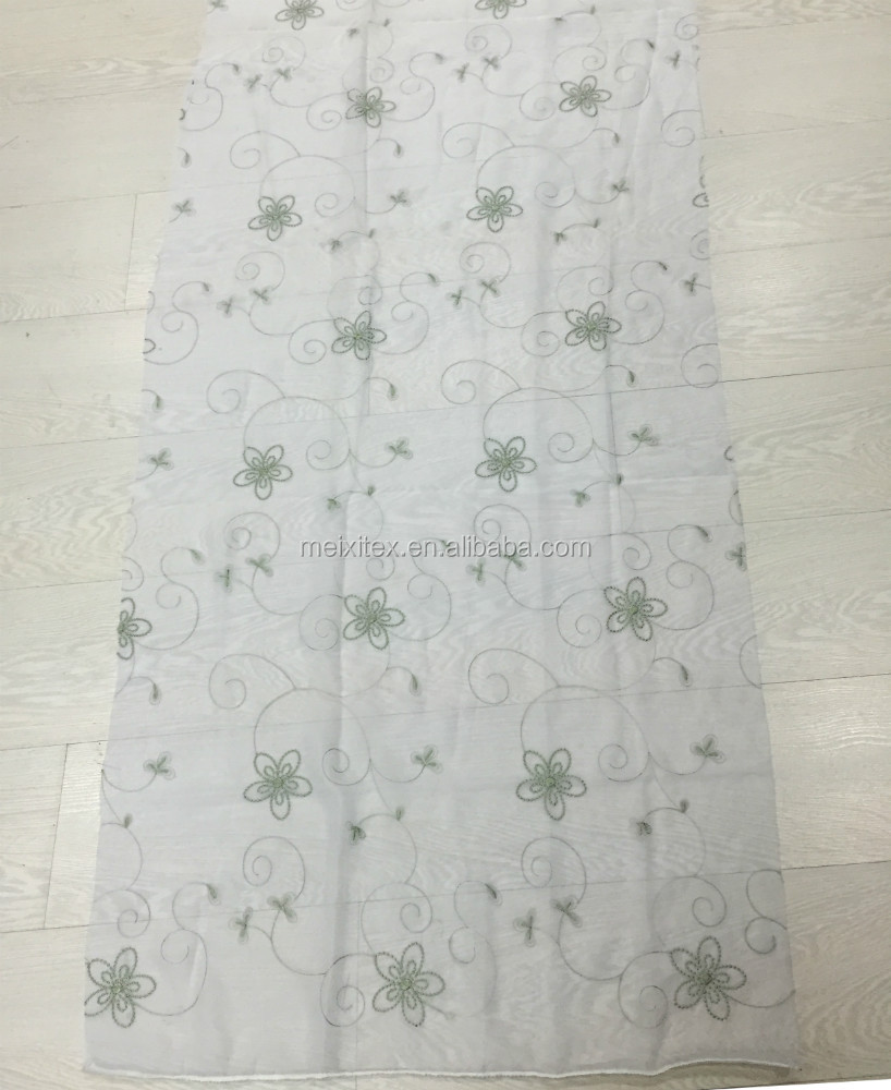 Free Sample Newest style of Embroidery designs voile fabric curtain wholesale