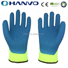 HANVO Winter Nappy Acrylic And Nylon Coated Blue Latex Knitted Gloves