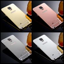 S6 Edge S7 Gold Plating Mirror Acrylic case Aluminum Metal Cover For Samsung Galay S5 S4 S6 S7 for Neo G920F G925F Anti-knock