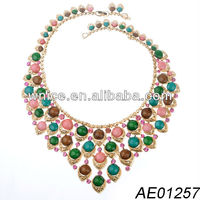 luxurious jewelry multi colored crystal necklace,Euro&US party wedding flowers necklace