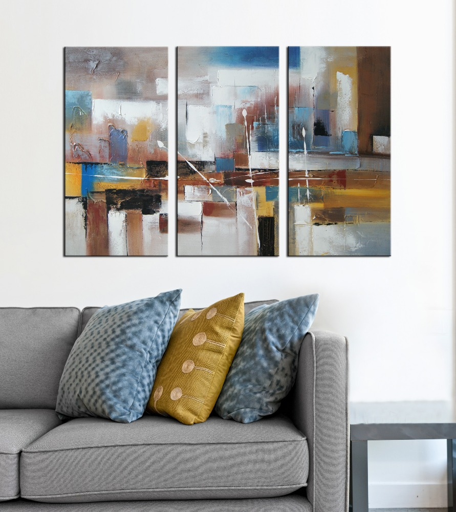 100% Hand Painted Canvas Group Abstract Art Oil Paintings