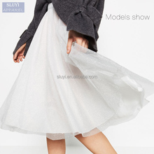 latest design ladybeautiful white keen-length long tulle skirt for female adult