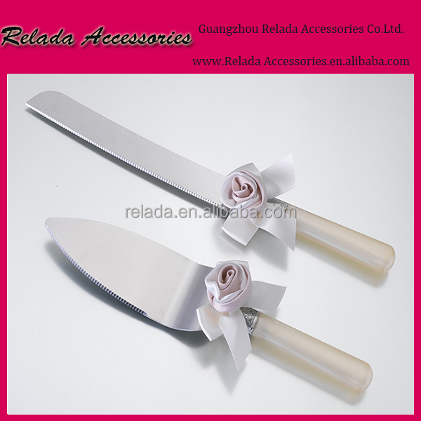 European and western wedding cake decoration stainless Steel Wedding Cake knife Serving Set