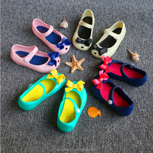 2017 Summer cute bowknot baby soft soled sandal pvc jelly shoes