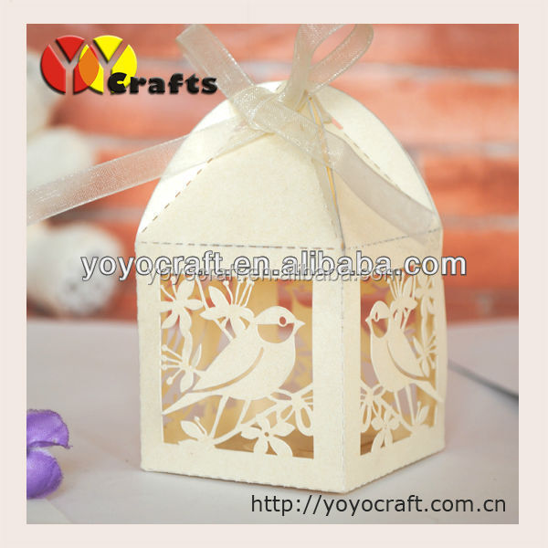 laser cut wedding cake box with ribbon with fast shippment from YOYO <strong>crafts</strong>