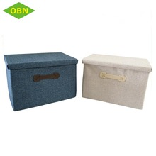China custom decorative fabric foldable collapsible kids toy small storage box with lid