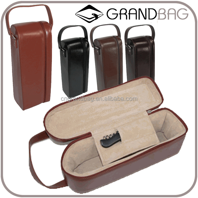 custom personalized single leather wine case luxury genuine cow leather wine bag with strap PU wine bottle holder bag carrier