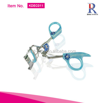 Professional shining bling crystal inlaid blue rhinestone style eyelash curler