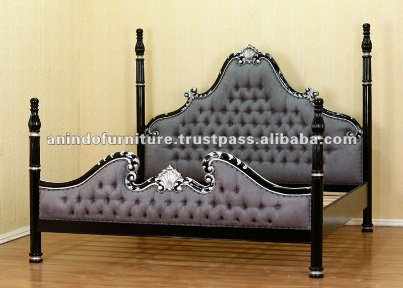 French Furniture - Black Painted Four Posters Bed with Upholstery