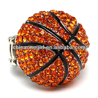 SPORT BASKETBALL CRYSTAL RHINESTONE STRETCH RING