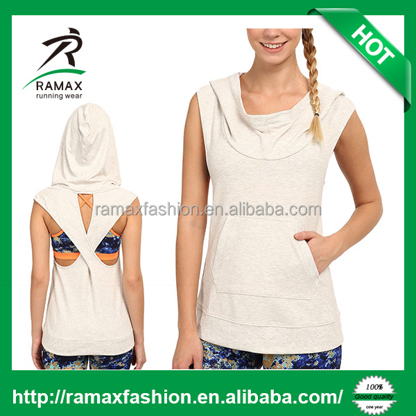 Ramax Custom Women Cowl Neck Crisscross Racerback Sleeveless Hoodie