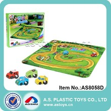 Wind up mini car racing track with puzzle