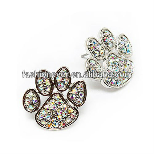 Puppy Paw Crystal Rhinestone Pave Fashion Stud Earrings