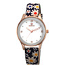 Hot Sale Fashion Dress Rose Gold Simple Design Flower Leather Band Quartz Wrist Watch for Girls