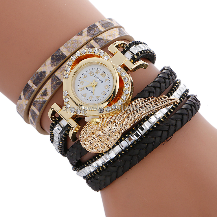 Heart Shape Dial Fancy Watch Shining Stones With Golden Wing Leather Band Ladies Wrist Watch BWL408