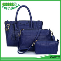 CWB076 Cuichuang factory sale lady handbags sets 3pcs snakeskin shoulder fashion & designer bags alibaba china factory wholesale