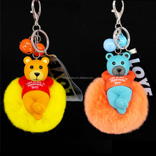 Yongze 100% real rabbit fur plush Bells acrylic keychain custom car pom pom key ring holder manufacturers in china