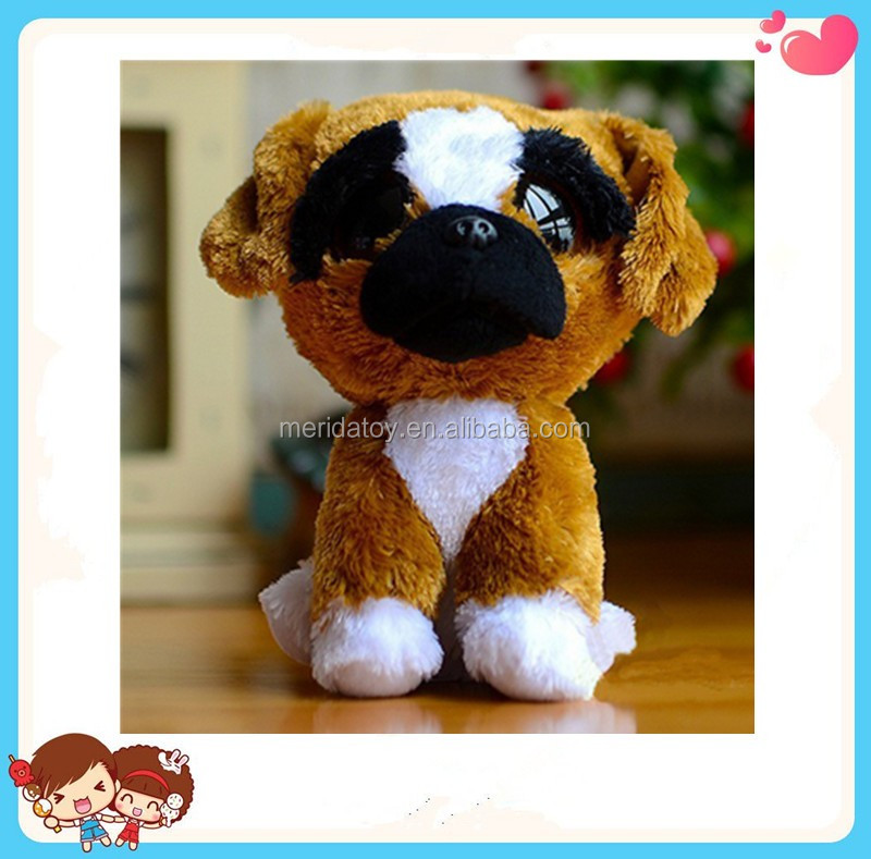 wholesale custom cute Beanie Boos plush brown dog toy with big eyes