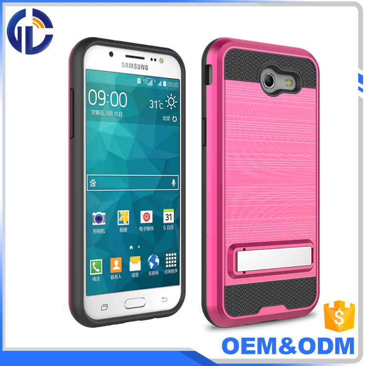 Shockproof protective cell phone case brush armor TPU hard PC phone case cover for J3 Prime / J3 Emerge case with kickstand
