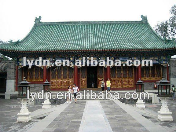 Glazed Chinese Style building a flat roof